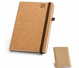 Agenda B5 2021 de corcho con soporte para bolígrafo y bolsa