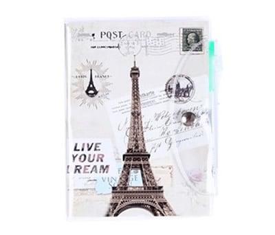 Libreta de notas de pvc con bolígrafo y diseños en el intererior modelo París