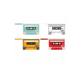 Portatodo con forma de cassette para detalles de boda