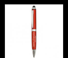 Boligrafo de aluminio con puntero tactil rojo