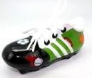 Hucha zapatilla de fútbol en color verde con cordones ideal como regalo o detalle para niños