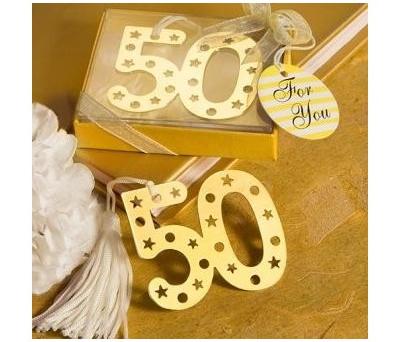 Punto de libro 50 aniversario como detalle para los invitados de las bodas de oro