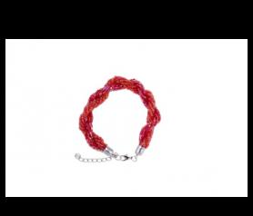 pulsera enrollada color rojo en caja de regalo