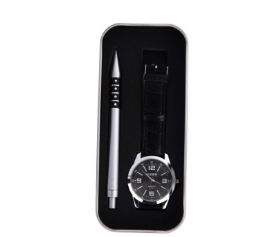 Set Bolígrafo + elegante reloj de caballero, presentado en estuche metálico