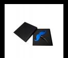 tapon de vino mostacho color en caja de regalo azul caja