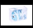 Bolsa plegable en forma pez en color azul en caja de regalo