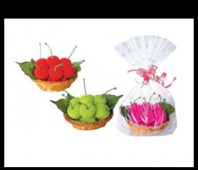 toallas en forma de dulces cerezas presentada en bolsita de regalo
