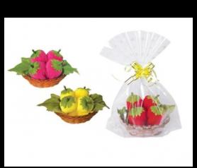 toallas en forma de dulces fresas presentada en bolsita de regalo