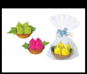 toallas en forma de dulces peras presentada en bolsita de regalo