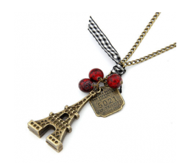 Collar vintage Torreiffel roja