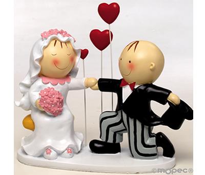 FIGURA NOVIOS 3 CORAZONES para la tarta o como regalo para los siguientes en casarse