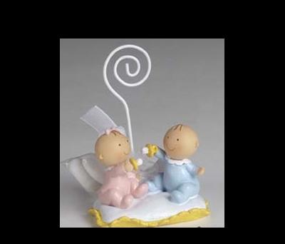 Figura gemelos niño y niña con chupete y peladillas