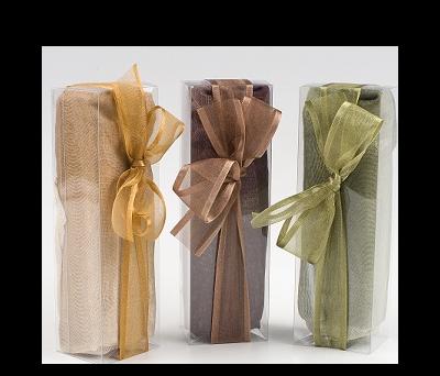 Foulard beige, marrón y verde estuche+lazo