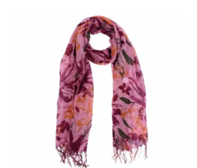 pañuelo pashmina flores color rosa
