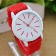 reloj esférico para mujeres con correa en silicona de color rojo