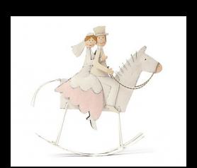 Figura de novios en caballo balancín