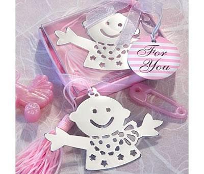Punto de libro osito rosa en estuche como detalle de bautizo para los invitados