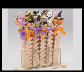 Expositor estuches pic Halloween con caramelos para detalles de invitados