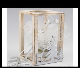 Portavela madera con vela con bombones para detalles de invitados