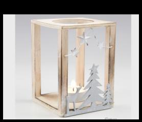 Portavela madera con vela para detalles de invitados