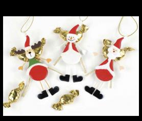 Colgante imán metal Reno, Papá Noel y Muñeco Nieve para decorar tu árbol estas navidades
