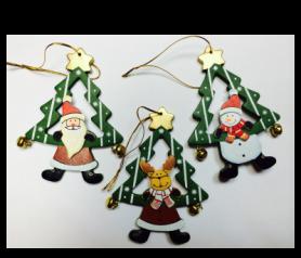 Colgante para el árbol de navidad en forma de árbol con papá noel, muñeco de nieve y reno para decorar tu árbol estas navidades