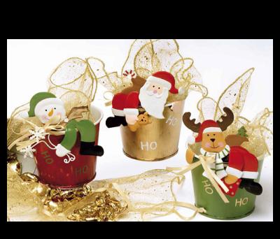 Cubo metal Papa Noel, muñeco de nieve y reno para regalar estas navidades