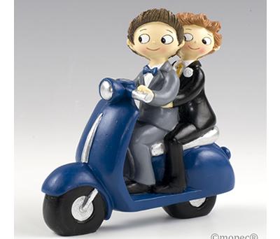 Novios en moto para la tarta de boda o como regalo