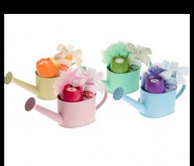 Set de baño en regadera con gel de baño, ambientador tulipán y esponja flor