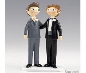 Simpática figura de novios chicos para la tarta o como regalo para los siguientes en casarse