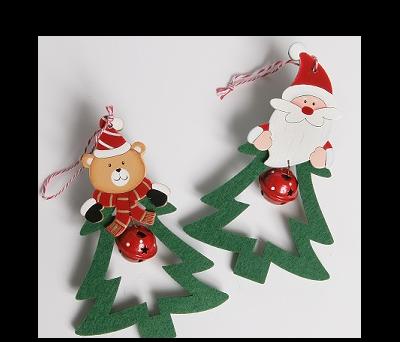 colgante en forma de árbol de navidad con papa noel y osito de navidad para decorar tu árbol estas navidades