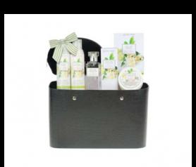 Bolso de cuero cocodrilo con gel de baño, leche hidratante, sal de baño, eau de toilette, crema de manos, neceser para un regalo especial