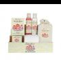 Cesta madera set cupcake con gel de baño, leche hidratante, sobre sal de baño, esponja rizo, toalla tocador, jabón natural,