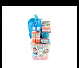 Lata niña piruleta con gel de baño, leche hidratante, sal de baño, manopla rizo, jabón glicerina, cepillo pie para un regalo especial