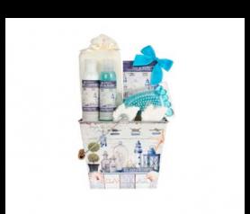 Lata relax con gel de baño, leche hidratante, sobre sal de baño, 2 jabones de formas, esponja de rizo, cepillo pie para regalar