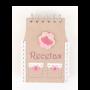 Libreta recetas krakt con diseño de delantal fresas como detalle para los invitados de boda, comunión y eventos