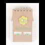 Libreta recetas krakt con diseño de delantal kiwi como detalle para los invitados de boda, comunión y eventos
