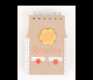Libreta recetas krakt con diseño de delantal naranja como detalle para los invitados de boda, comunión y eventos
