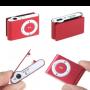 MP3 player con auriculares, cable USB y clip para enganchar en color rojo muy original como detalle de boda, comunión o evento para tus invitados