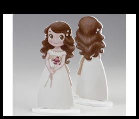Figura tarta en madera niña lirio para detalles de invitados