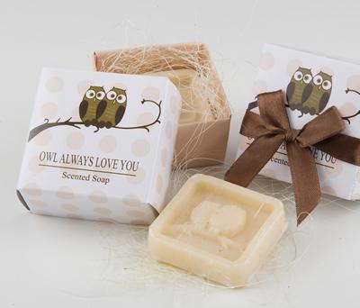 Jabón perfumado búhos en caja regalo+lazo como regalos de boda