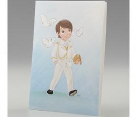 Portafoto Comunión niño almirante blanco para detalles de invitados