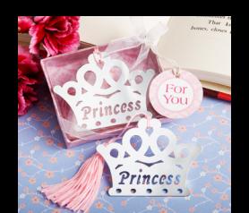 Punto de libro corona Princess ideal como detalle de bautizo para tus invitados