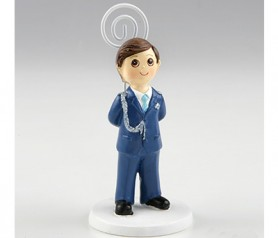 Sujeta notas Comunión niño almirante azul con minifruits para detalles de invitados