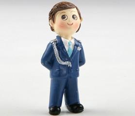 Imán+anilla comunión niño almirante azul para detalles de invitados