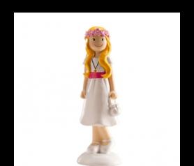 figura pastel niña colulgante para regalar o para decorar la tarta de comunión