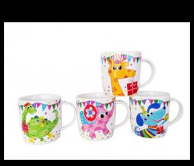 tazas animales en caja regalo safari para eventos infantiles, comuniones y bautizos ideal para los niños de la fiesta