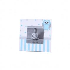 Portafotos de madera con búho en color azul como detalle para bautizo o como regalo para recién nacidos
