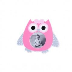 original portafotos búho en color rosa como detalle de bautizo y como regalo de recién nacidos