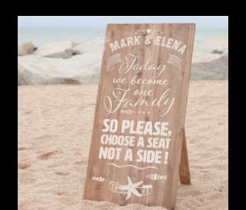 Tablet de madera 60 x 120 cm para dar la bienvenida a los invitados de una boda